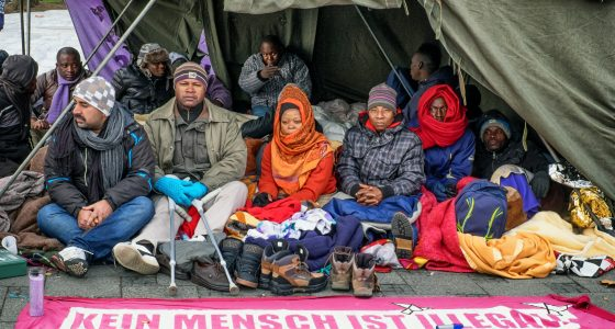 Munich, Germany - November 24, 2014: refugees in a hunger strike in munich - Sendlingertor. the refugees demonstrate for more rights and against racism. The photo shows the third day